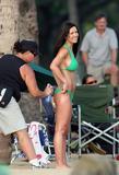 Audrina Patridge shows her big fake breasts in green bikini on The Reef Movie Set in Hawaii